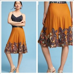 Anthro Bhanuni gold embroidered skirt size 6